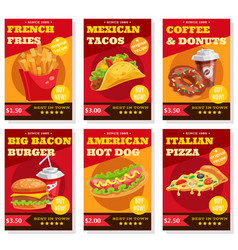 fast food posters set vector image