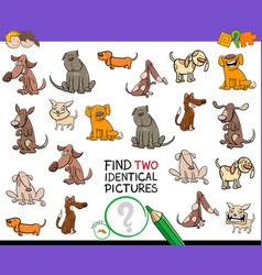 Find identical cartoon pictures of dogs game vector