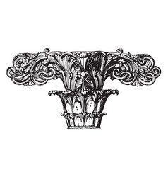 Finial stone rovintage engraving vector