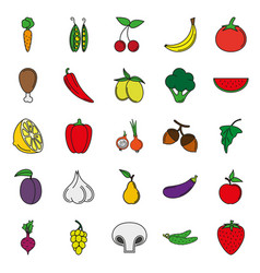 food icon set color vegetables and meat vector image