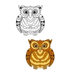 Forest brown owl with decorative feathers vector