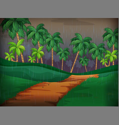 forest scene on rainy day vector image