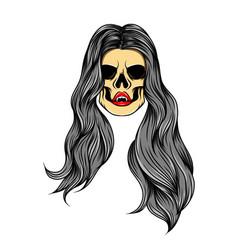 Glossy coloured art work girl skull vector