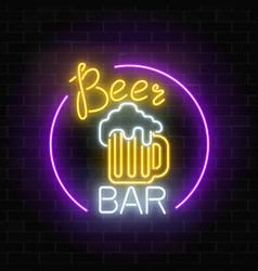 Glowing neon beer bar signboard in circle frame vector