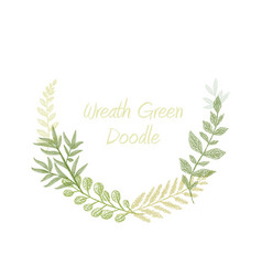 Green doodle hand drawn herb border vector