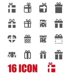 grey gift icon set vector image