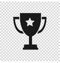 Grey trophy cup icon isolated on transparent vector