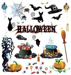 Halloween color set vector