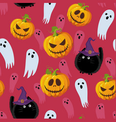 halloween seamless pattern on red pink background vector image