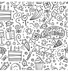 Hand-drawn seamless pattern with birthday doodles vector