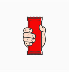 Hand hold blank plastic pouch food packaging vector