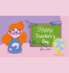 happy teachers day teacher with map world vector image