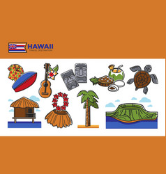 Hawaii travel destination promotional poster with vector