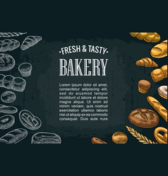 Horizontal posters with bread on the dark vector