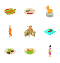 Indonesian life icons set isometric style vector