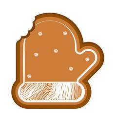Isolated bitten christmas glove gingerbread vector
