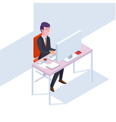 Isometric seo businessman at work flat style vector