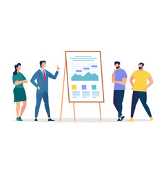 listeners and coach presentation at chart board vector image