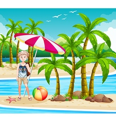Man standing on the beach vector image