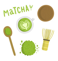 Matcha tea set Isolated object vector image