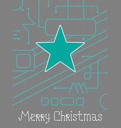Merry christmas techno line art bakcground vector