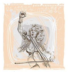 Music placard with an Musician vector image vector image