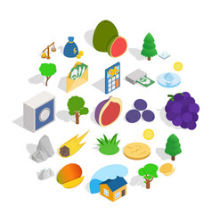 Nature without people icons set isometric style vector
