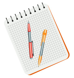 notebook red pen and yellow pen vector image