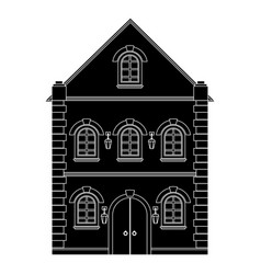 Old european house flat black drawing vector