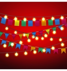 pennant bunting and Warm yellow Lights bulb vector image