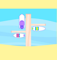 pier boats top view sandy beach summer rest vector image