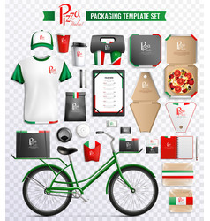 Pizza packaging template set vector