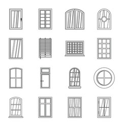 plastic window forms icons set outline style vector image