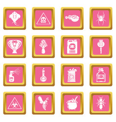 Poison danger toxic icons set pink square vector