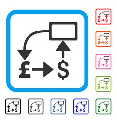 pound dollar flow chart framed icon vector image