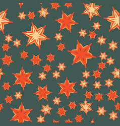 Print with stylized flowers and stars vector