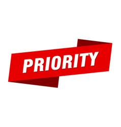 Priority banner template priority ribbon label vector