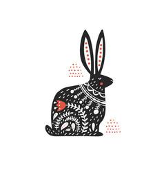 Rabbit with folk ornament flat vector