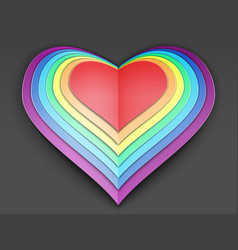 Rainbow multi layered valentine made of vector