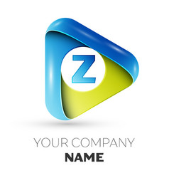 Realistic letter z logo colorful triangle vector