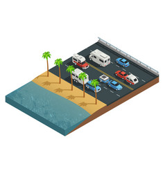 recreational vehicles on road isometric vector image
