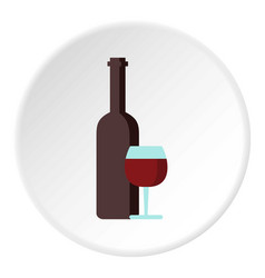 red wine and glass icon circle vector image