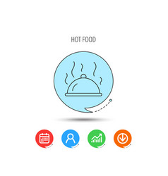 restaurant cloche icon hot food sign vector image