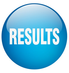 Results blue round gel isolated push button vector