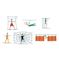 Rope park set - cartoon people and obstacle course vector