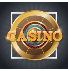 Roulette of casino inside frame design vector image