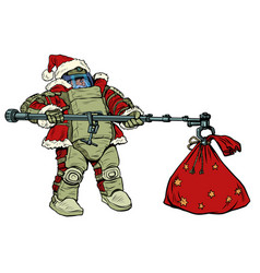 santa claus in a protective suit and gifts vector image