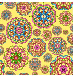 seamless pattern made from circle mandalas vector image