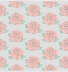 Seamless pattern with drawn flowers roses vector