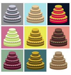 Set icons in flat design wedding cake vector